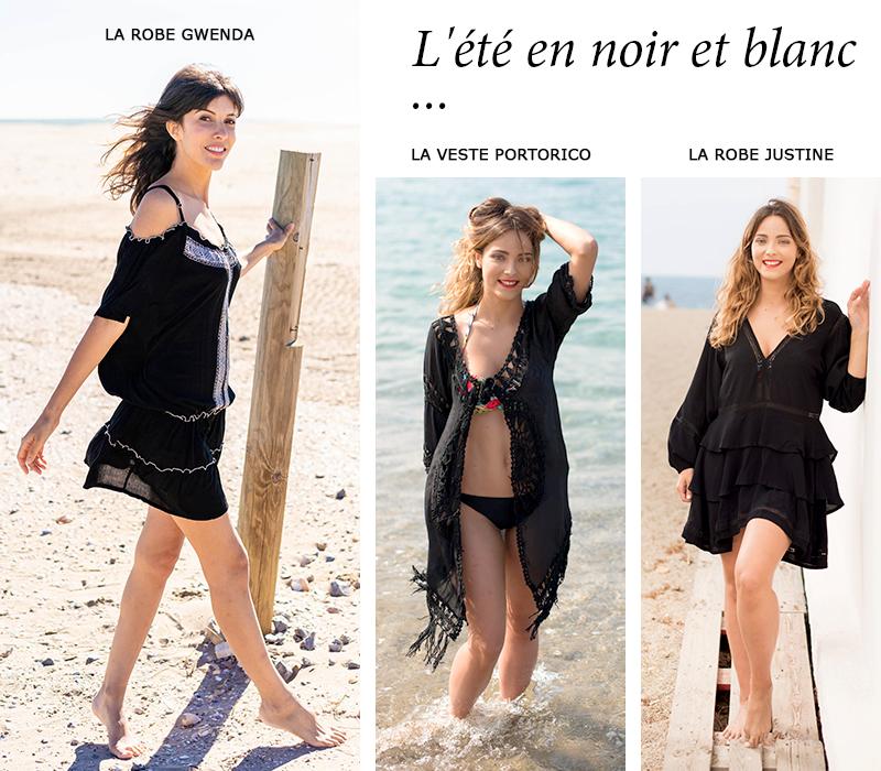 look plage noir vêtements femme tendance