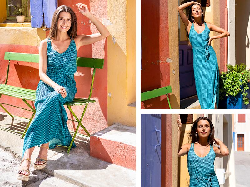 robe longue turquoise look travail bureau working girl woman mode femme tendance
