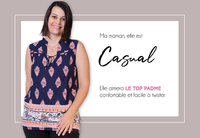 mode femme fête des mères top t shirt motif ethnique tendance cadeau
