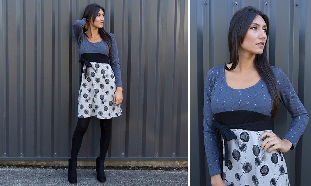 robe hiver ethnique look gris mode femme automne hiver