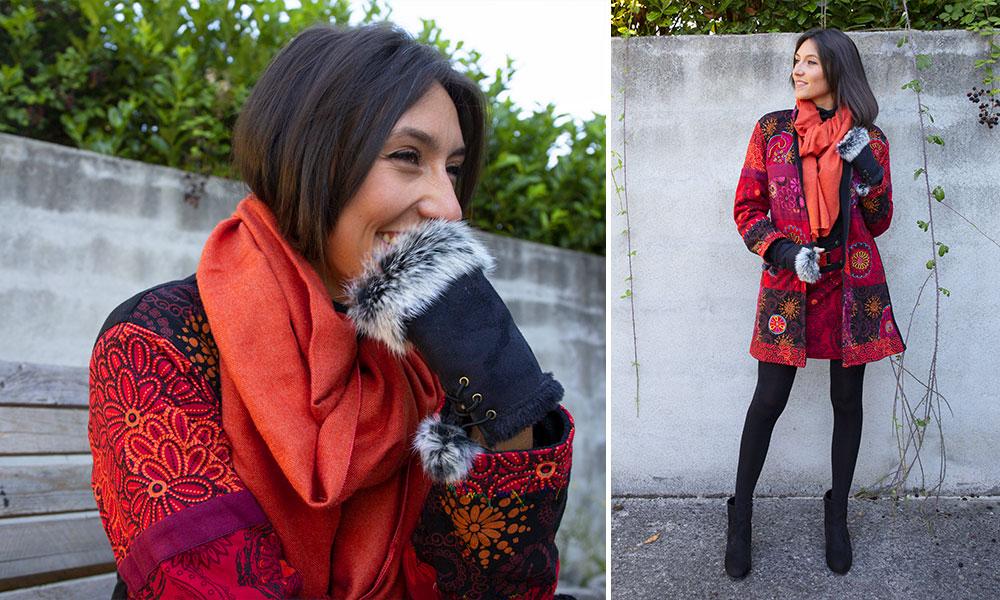 manteau doublé polaire ethnique look orange mode femme automne hiver