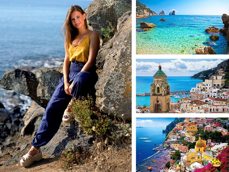 top jaune pantalon fluide marine look Italie mode femme vêtement tendance