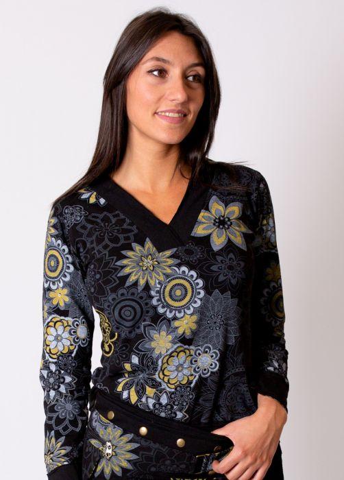 top hiver femme noir motif mandala gris jaune