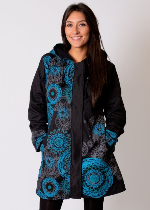 manteau femme noir bleu
