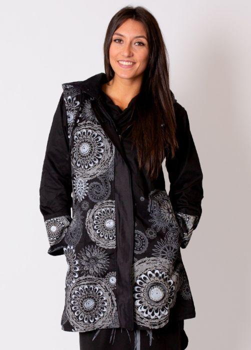 manteau femme noir gris
