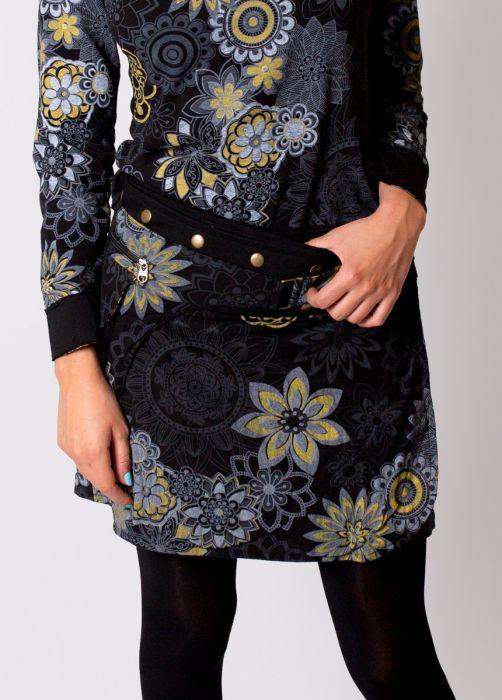 jupe courte hiver femme à pression imprimé fleuri gris noir