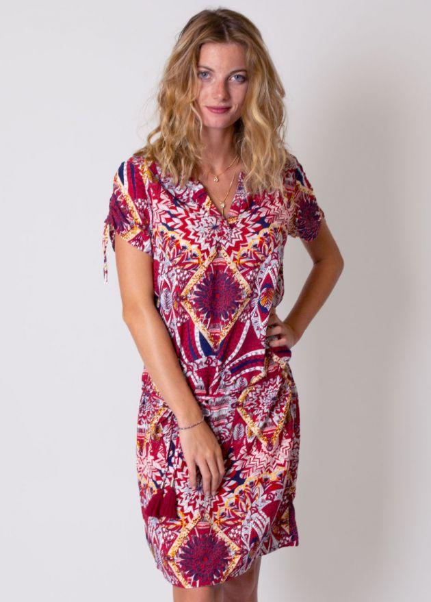 robe-manches-courtes-colorée