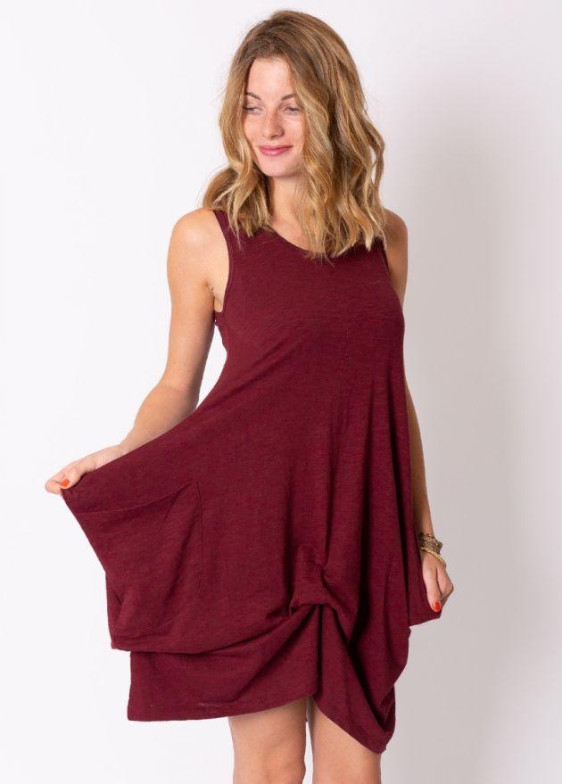 robe courte ample coton organique grenat