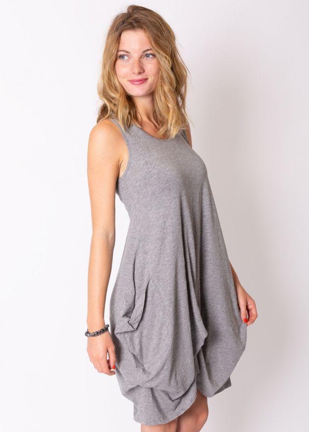 robe courte ample coton organique gris