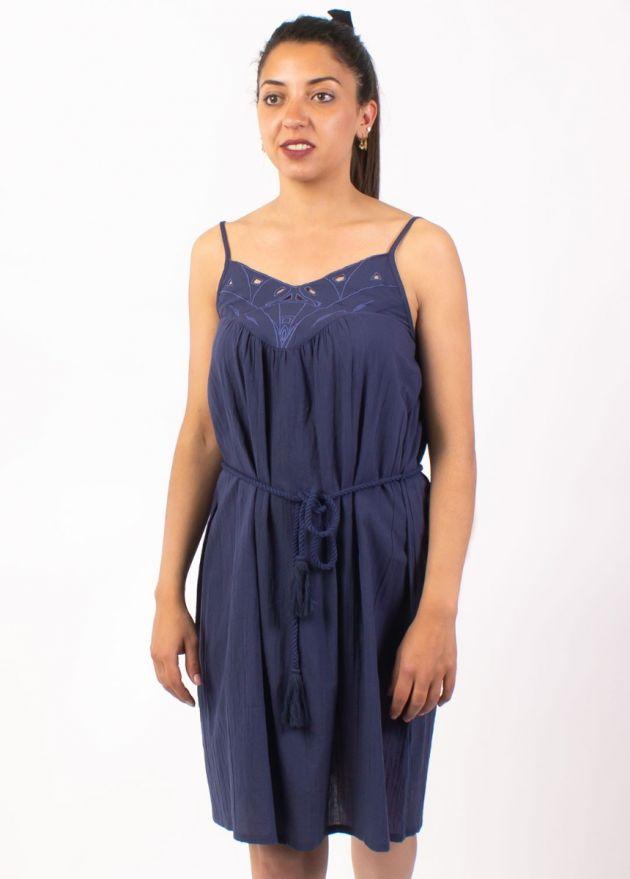 robe unie bleue marine en coton zoom