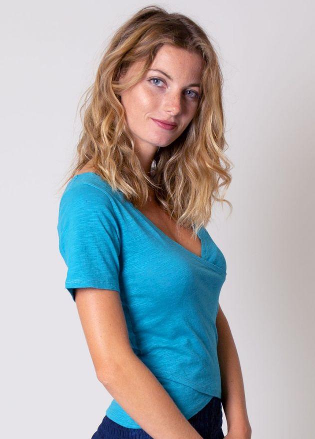 tee-shirt coton organique bleu