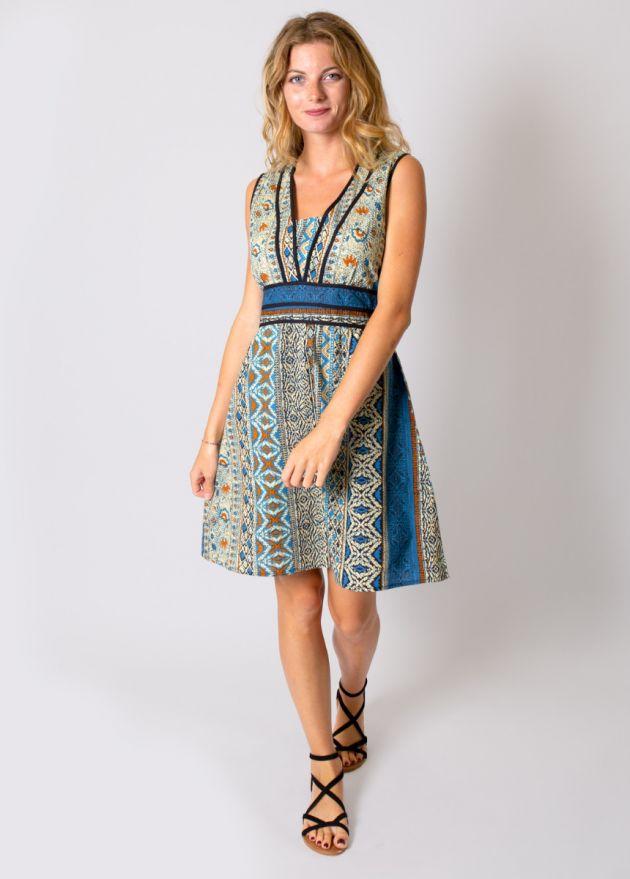 robe-coton-imprimé-bleu