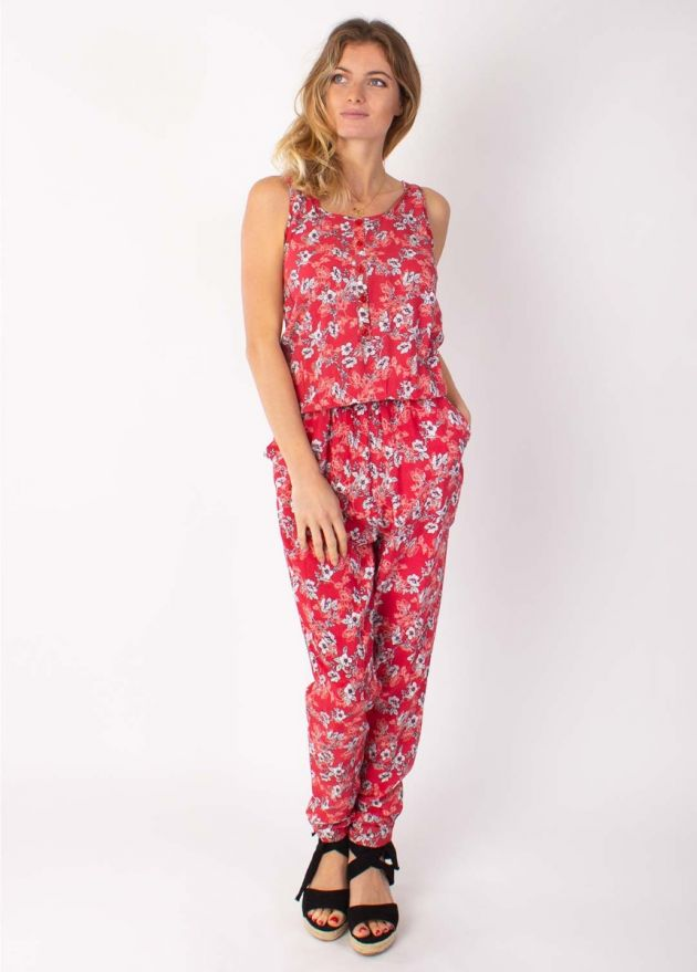 combinaison pantalon fleurie rouge Anny face