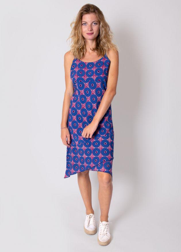 robe-bretelles-imprimé-bleu