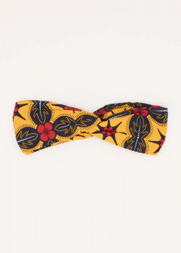 bandeau nœud imprimé africain jaune et noir
