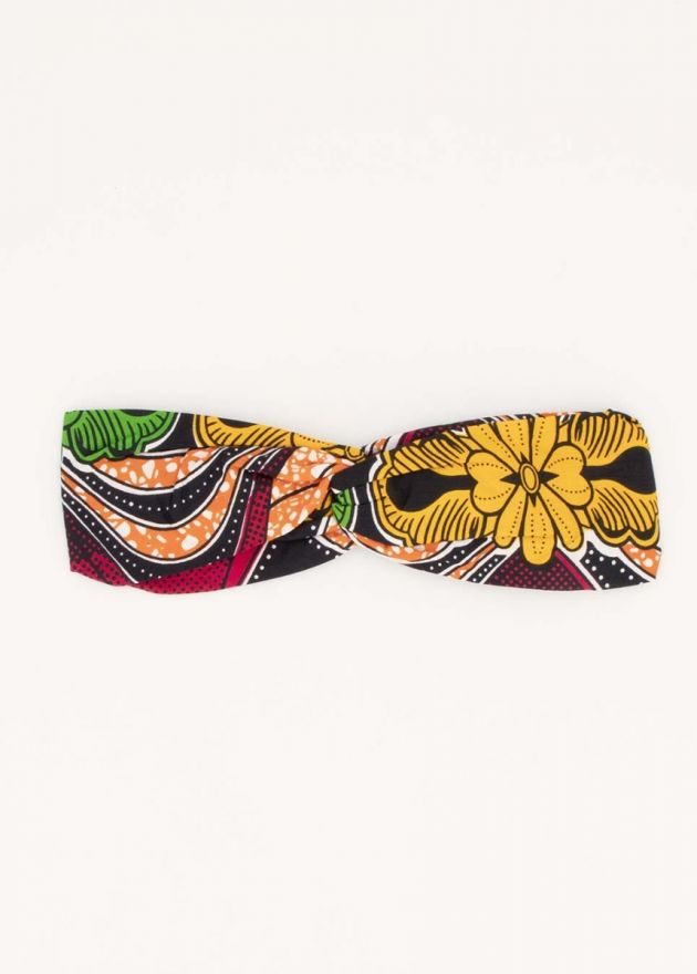 bandeau nœud style africain imprimé jaune
