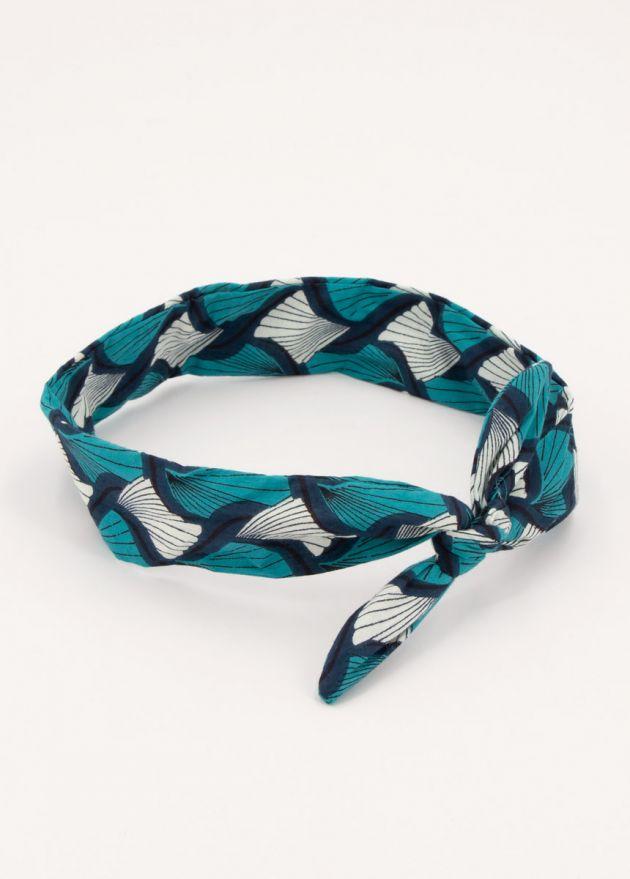 bandeau twist style africain imprimé turquoise bleu et blanc