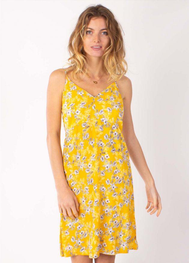 robe courte viscose jaune zoom