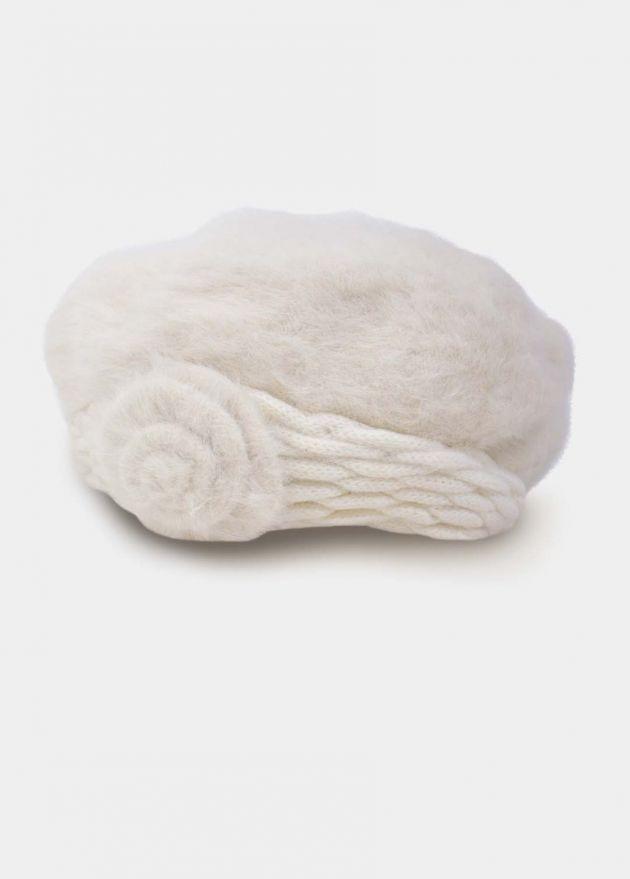 beret blanc angora femme hiver