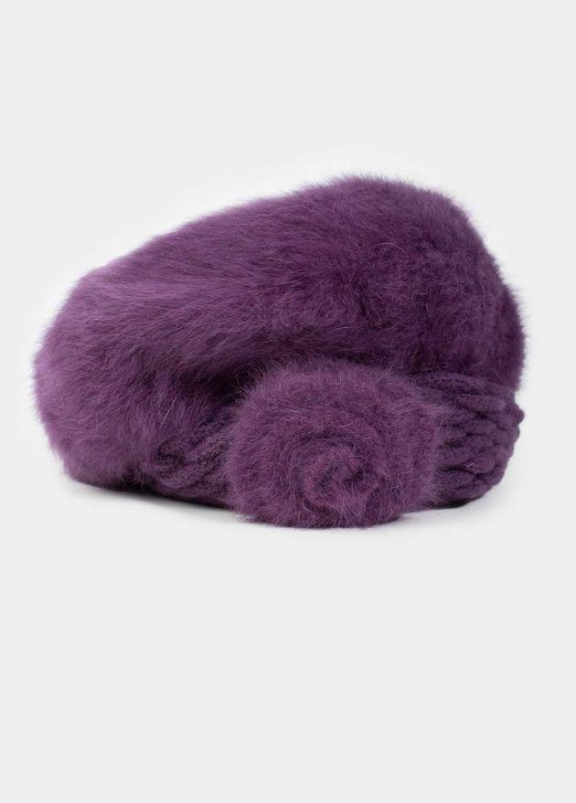 beret violet angora femme hiver