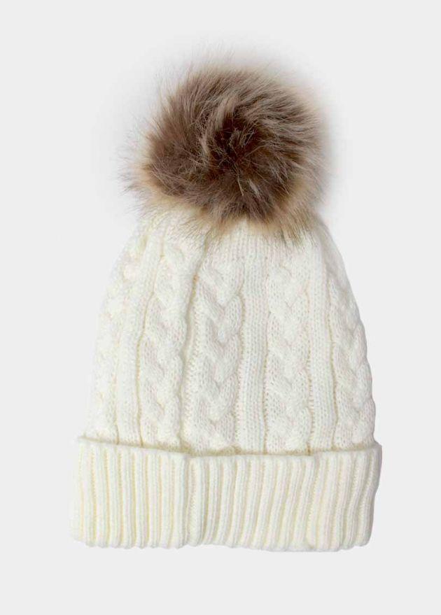bonnet pompon blanc torsadé face