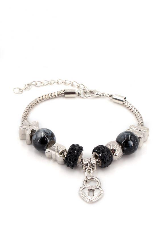 Bracelet fantaisie breloques perles noires