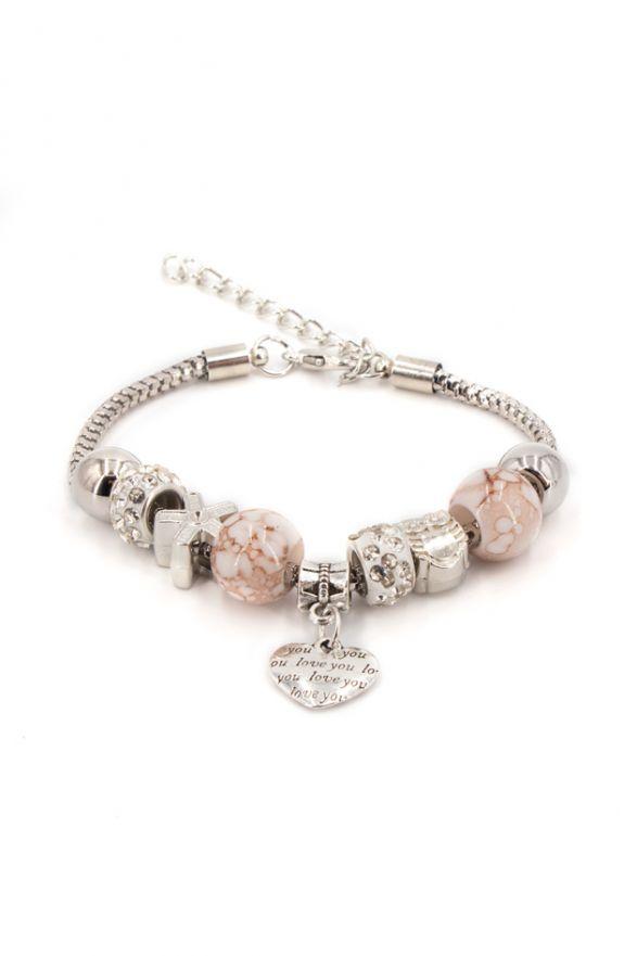 Bracelet fantaisie breloques rose