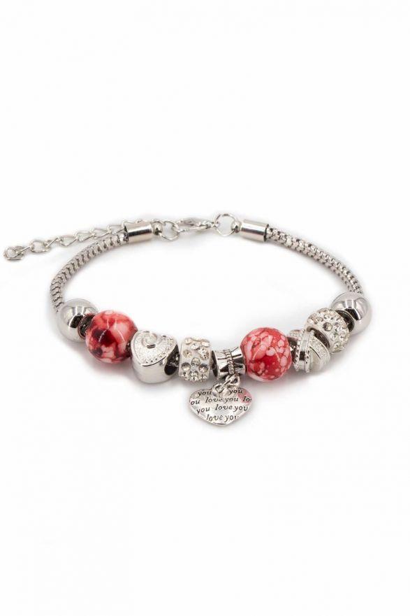 Bracelet fantaisie breloques rouge