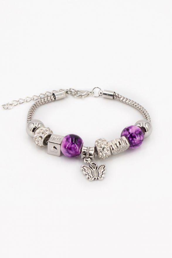 Bracelet fantaisie breloques violet