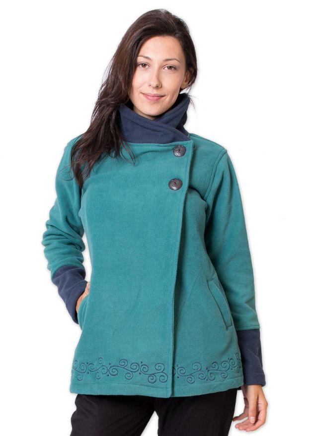 veste polaire ethnique col montant vert