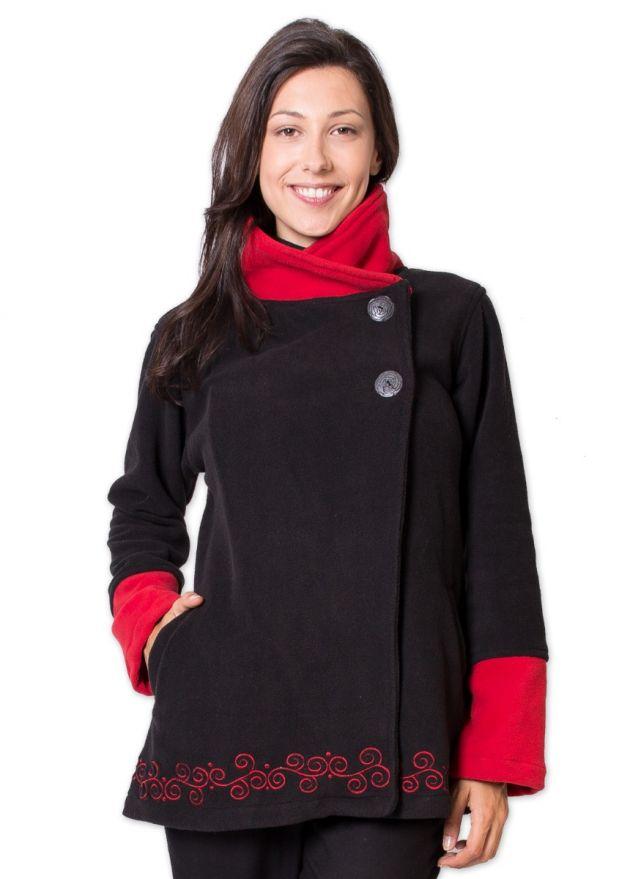 veste polaire col montant noir