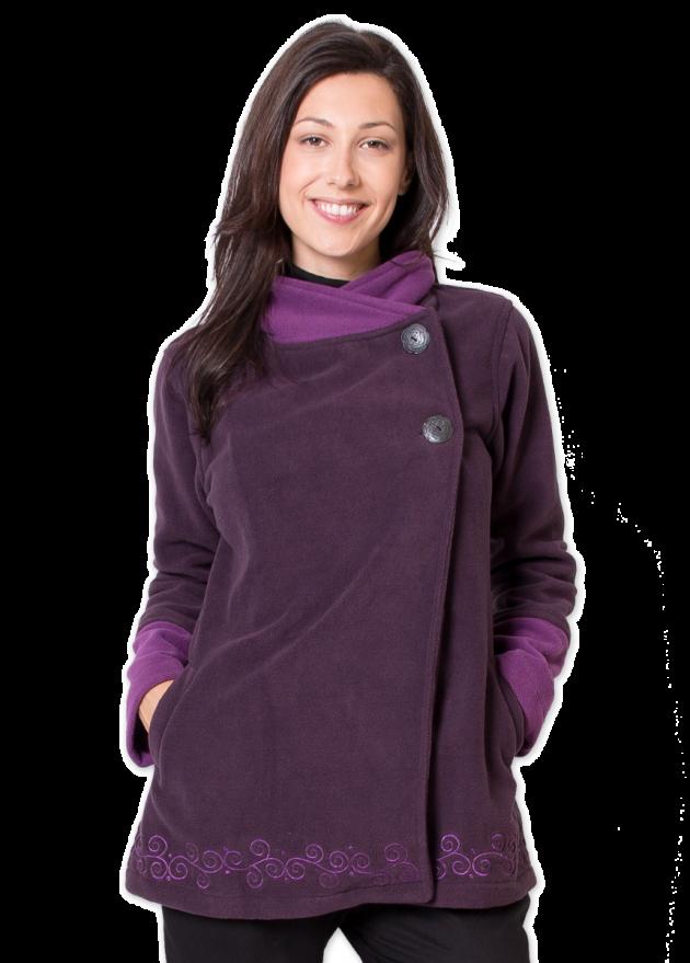 veste polaire ethnique col montant violet