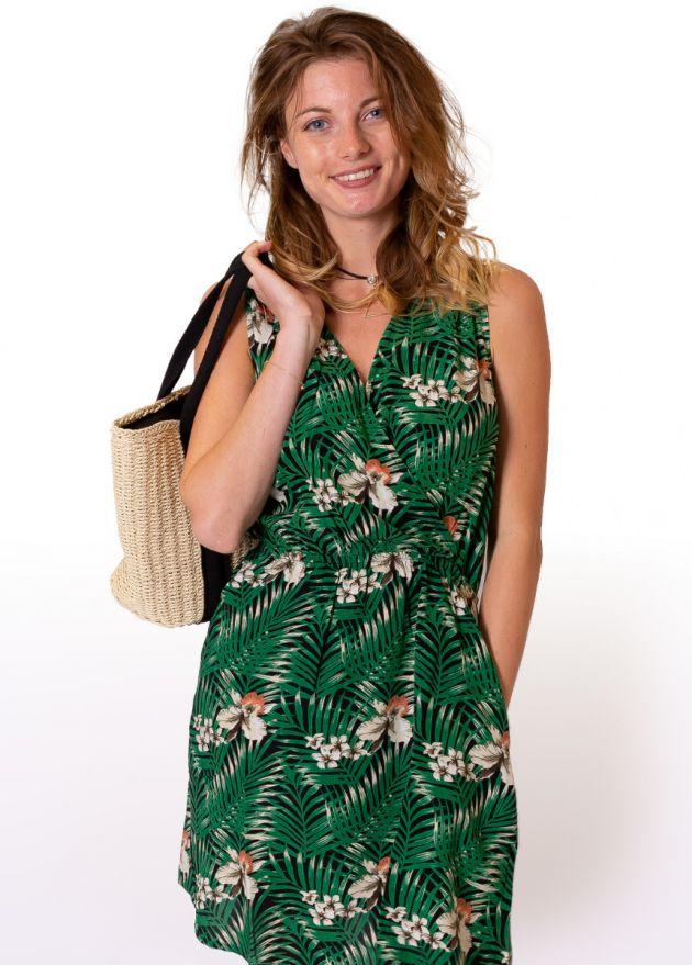 robe-courte-fleurie-vert