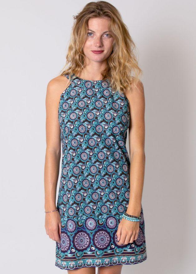 robe coton imprimé turquoise cecilia