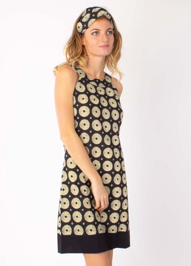 robe femme col rond imprimé noir et beige zoom