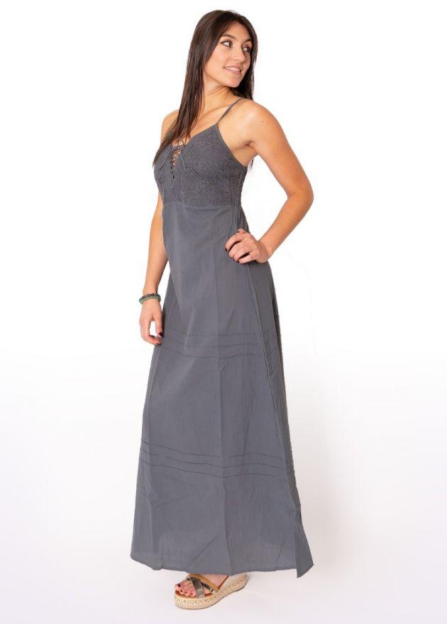 Robe longue grise crochet ethnique Celine profil