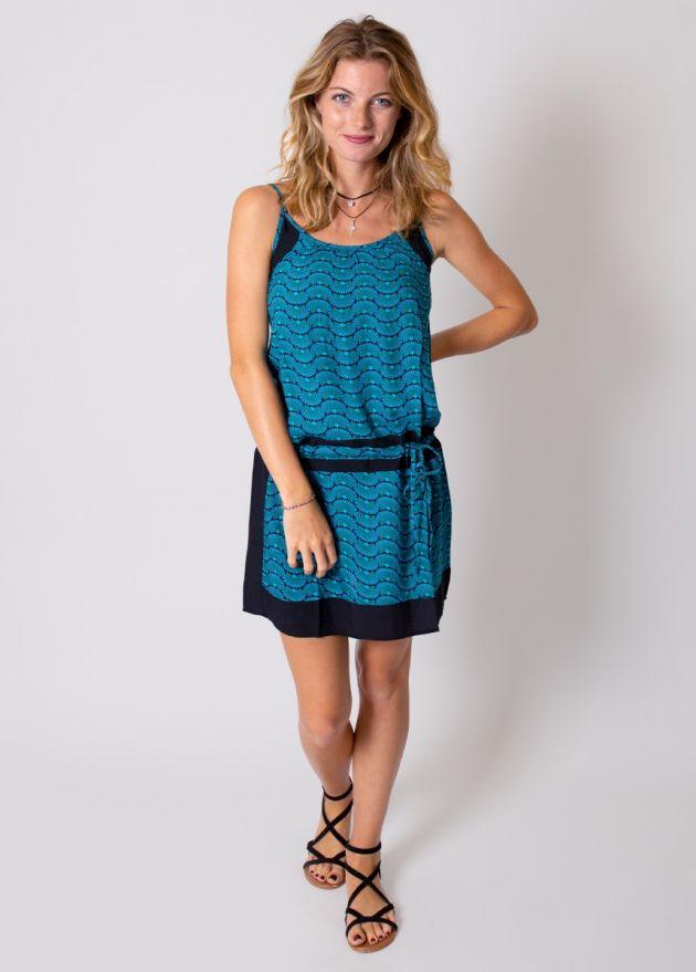 robe-courte-viscose-bleue