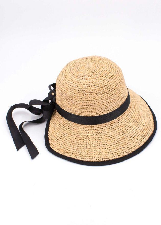 chapeau tatihou beige et ruban noir