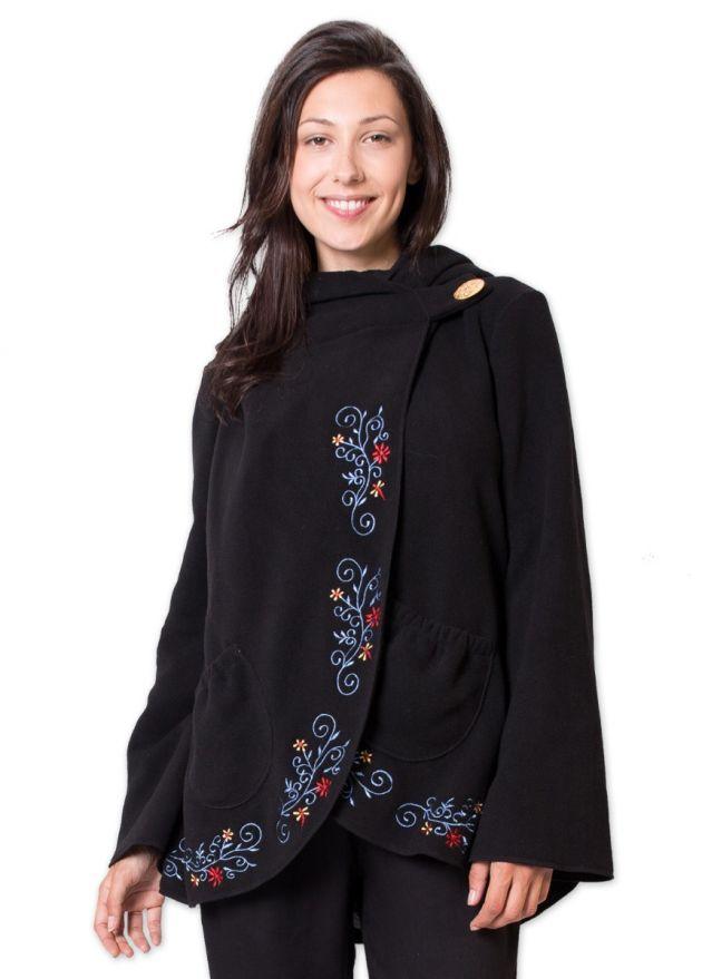 veste polaire femme noire brodee