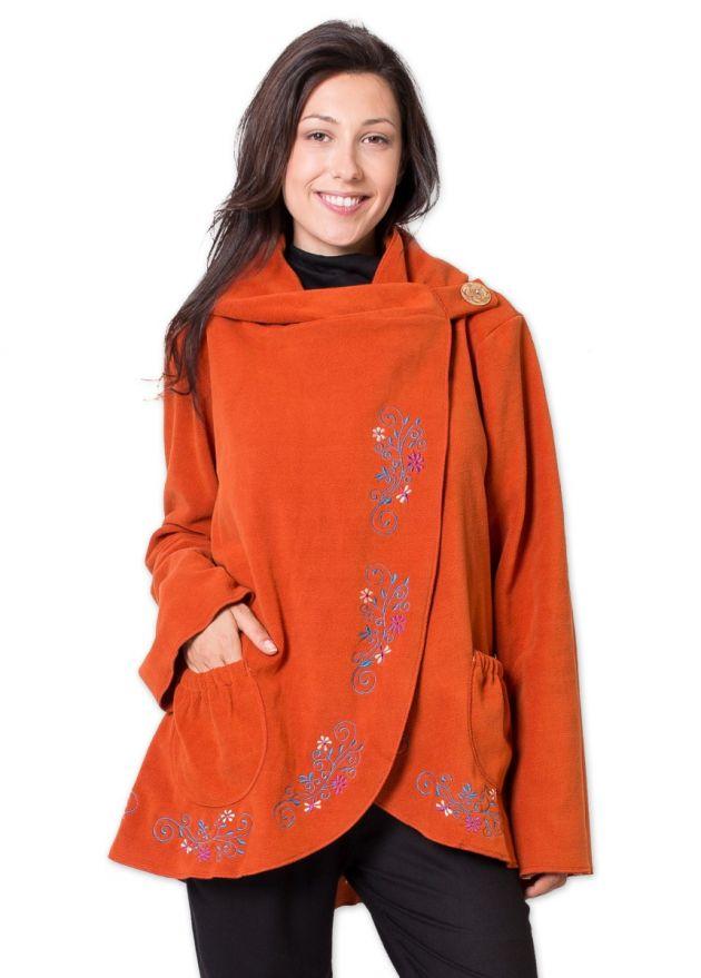 veste polaire femme orange motif floral