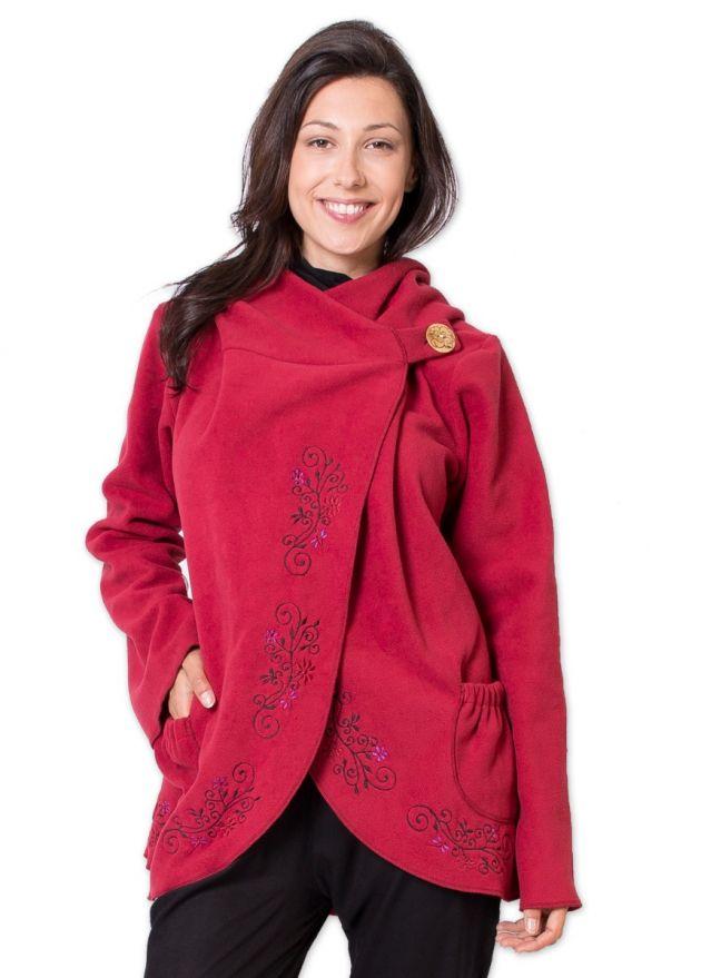veste polaire rouge coupe courte
