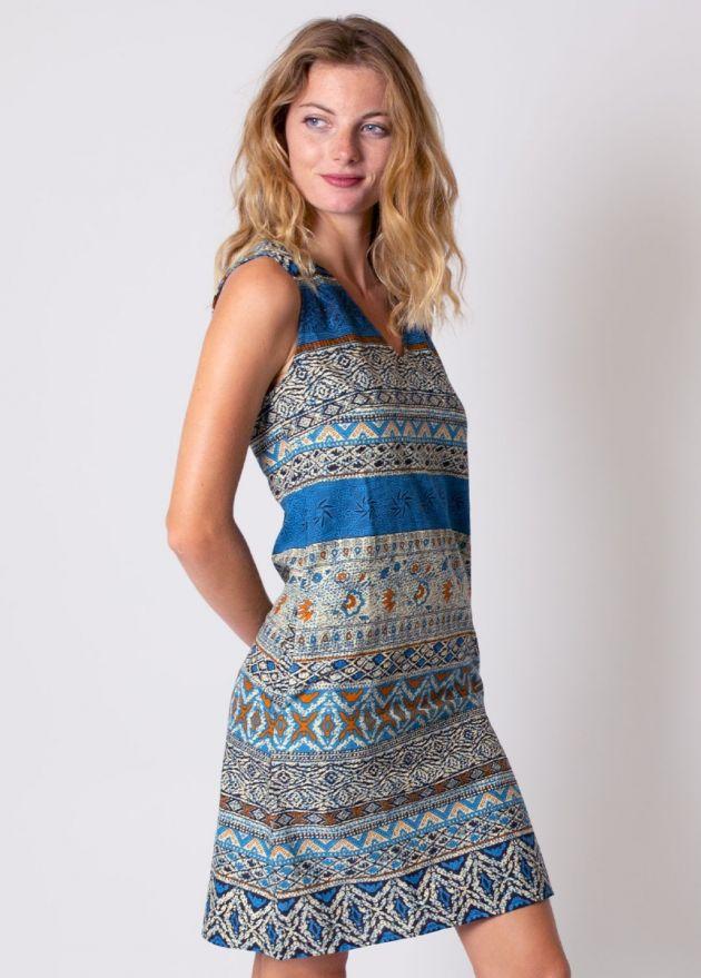 robe coton diana imprimé ethnique 19 bleu col V