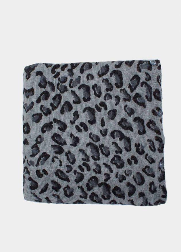 écharpe multiposition leopard bleu face