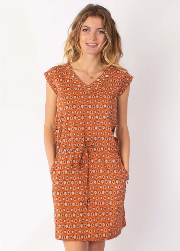 robe courte petites manches camel zoom