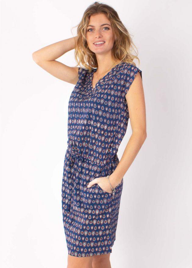 robe courte imprimé marine zoom