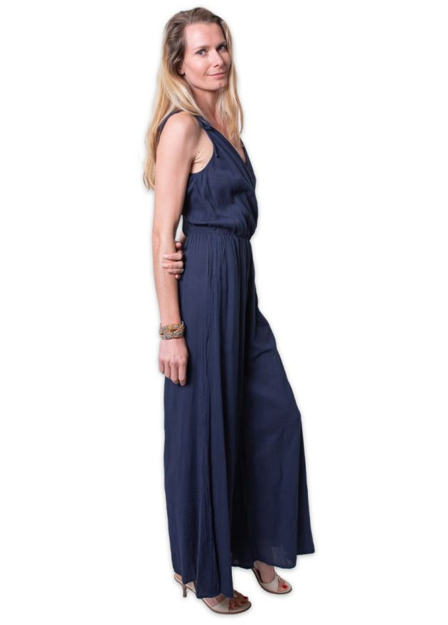 combi-pantalon bleu marine col V jambe large