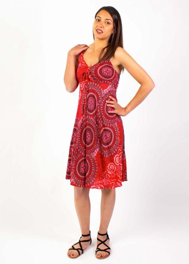 robe courte viscose  rouge fushia motif mandala face