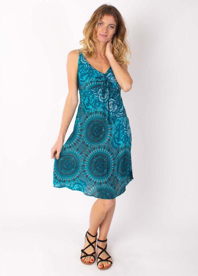 robe courte viscose emma turquoise motif mandala