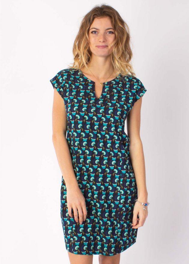 robe courte matiere coton erika 13 bleu