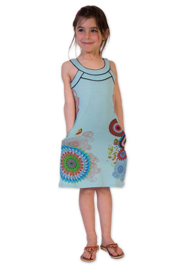 robe coton enfant bleu